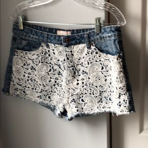 Forever 21 cut-off lace jean shorts - 30